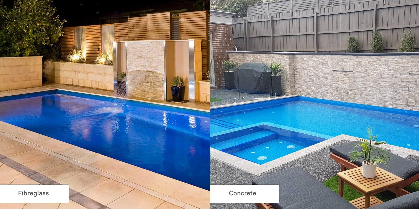 concrete vs fibreglass pool
